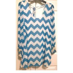 Filly Flair Boutique Chevron Aqua/White Mini dress